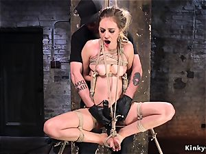 gagged brown-haired made ride sybian