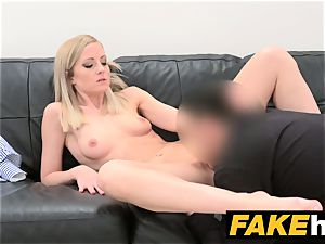 faux Agent shy platinum-blonde model likes clean-shaven gash tongued