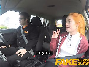 fake Driving college uber-cute ginger-haired Ella Hughes ravages