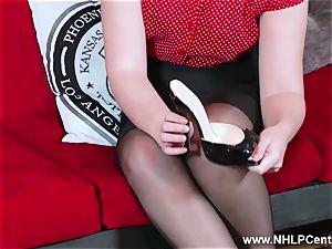 red-hot honey peels off ebony lingerie strokes in nylon garter