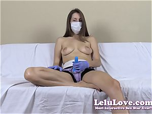 braless doll with medical mask and strap-on