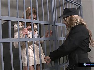 Nathasa Brill and Goldie Divine g/g prison orgy