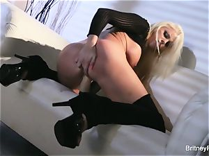 torrid towheaded Britney taunts & puts meaty plaything in her fuckbox