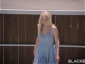 enslaved blonde screwed by 2 dark-hued jizz-shotguns