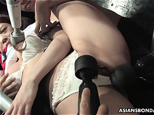 enslaved dame Aoi Yuuki got her milk cans and vulva played