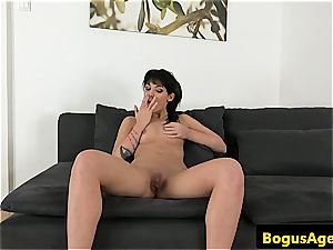handsome Bella adores the casting agent's meatpipe until he pours out over her