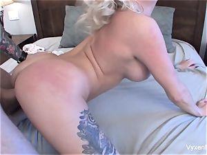 Vyxen Steel lets him cum on her enormous bosoms