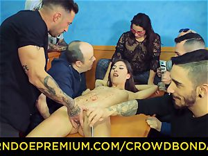 CROWD restrain bondage - dark-haired sub woman fetish public hump