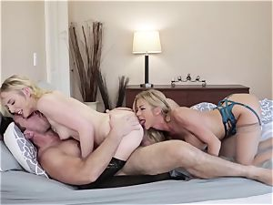 Adult male pokes his new wife Alexis Fawx and her daughter-in-law