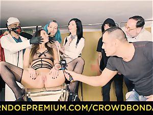 CROWD restrain bondage obedient Amirah Adara very first time bdsm