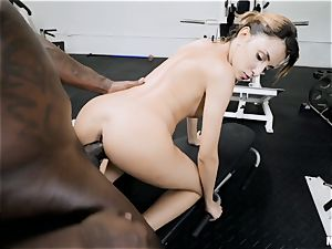 lil' Hime Marie gash pumped with big black cock in the gym