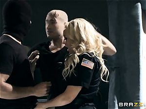 molten cop Summer Brielle drool roasted by 2 criminals