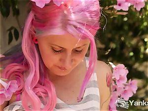 busty Zahra stroking Outdoors