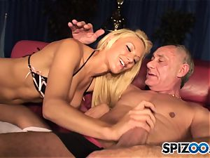 Grandad plays with british blonde hotty Lou Lou