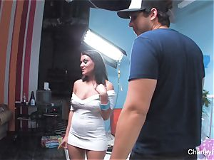 Behind the sequences penetrating with buxomy dark-haired Charley
