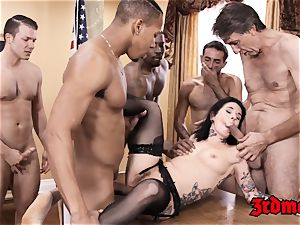 Succubus Joanna Angel licks big black cock fountain after group assfuck