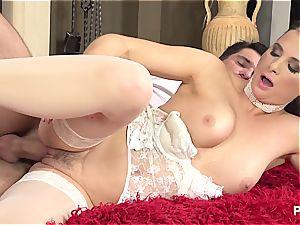 Jessica does the reverse cowgirl in splendid underwear