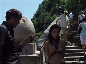 slim brown-haired tormented and romped outdoor