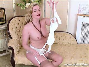 platinum-blonde milf disrobes off retro undergarments romps edible vulva