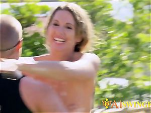 Hannah and JJ have fun around with kinky swingers in the backyard