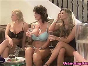 Bigtitted g/g straponfucked in 3some