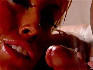 Bridgette B takes this hard chisel deep in her wet crevasse