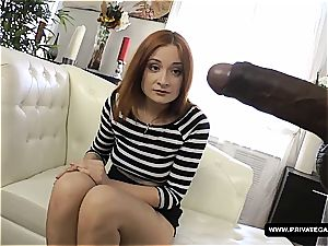 sandy-haired humping big black cock at porn casting