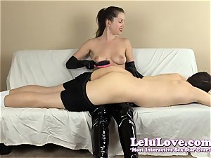 female dominance smacking his culo with my hairbrush mitts..