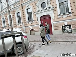 Nerdy Russian birdy getting down and sloppy