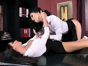 magnificent office biotch Bambi is getting laid for one warm lezzy activity