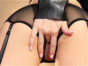 Haley Ryder likes caressing her raw slit all alone