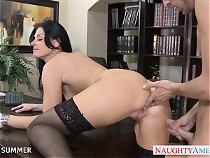 Stockinged India Summer screwing on the desk