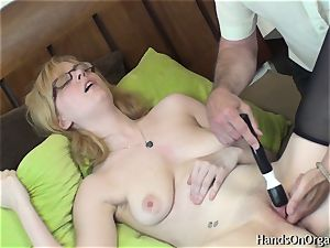 insatiable blonde Gets Help milking to ejaculation