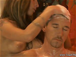 bearing Golden massage cougar platinum-blonde