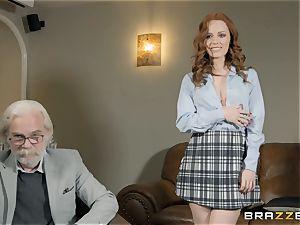 Redheaded sweetie Ella Hughes showered in jism
