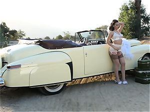 Lana Rhoades vintage car vagina have fun