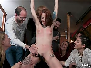 Alt red-haired nailed in group in public