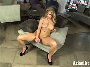 platinum-blonde hottie fake penises her moist cunny and jizzes rock hard