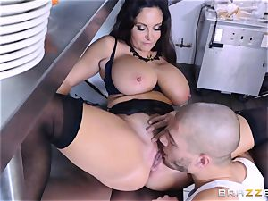 Kitchen inspector Ava Addams takes a chefs man sausage deep