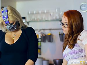 mind-blowing red-haired Ella Hughes plumbed by masked stud
