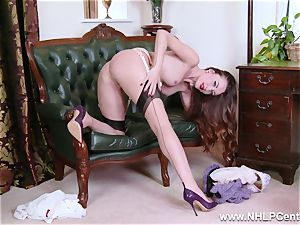 honey unclothes to nylons high-heeled shoes to fucktoy her cootchie