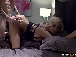 big-chested light-haired Summer Brielle pokes her college girl