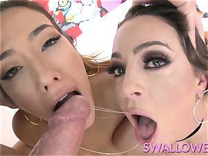 drank Abigail and Eva Lovia blowing ample pillar