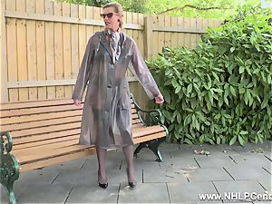 super-naughty milf wanks in public in nylons garters high-heeled shoes