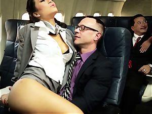 Asa Akira and her hostess buddies poke on flight