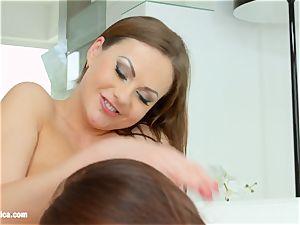 Evelina Darling and wonderful Tina Kay loving each other on girl/girl Erotica