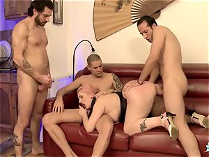 LA COCHONNE - French damsel gets jizz on bra-stuffers in foursome