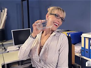 butts Buero - deep throat on big black cock at work from German cougar