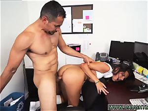 inexperienced dark haired nubile facial cumshot Bring Your ally s daughter-in-law to Work Day
