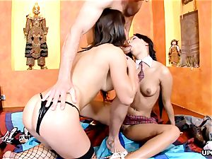 big-boobed Angel pinkish and Jeny Baby have a kinky four-way